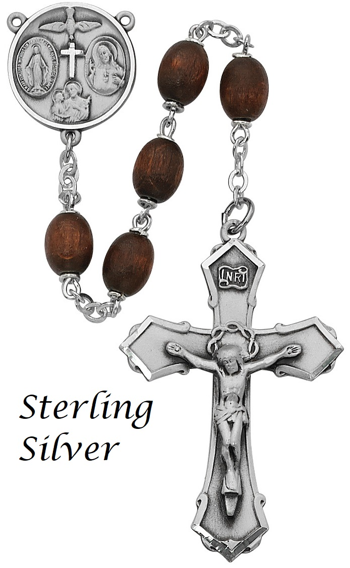 Brown Wood Rosary - Style 1M39LBRF