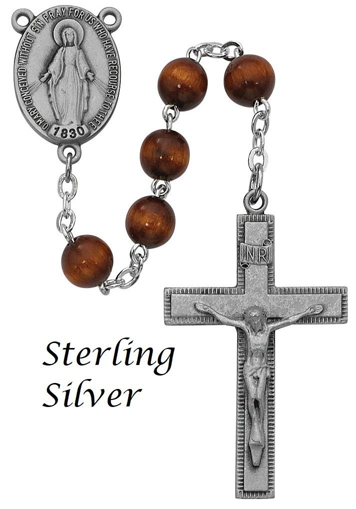 Brown Wood Rosary - Style RM435LF