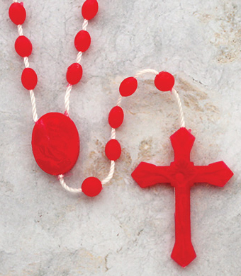 Box of 100 Red Cord Rosaries - Style 0D518RD