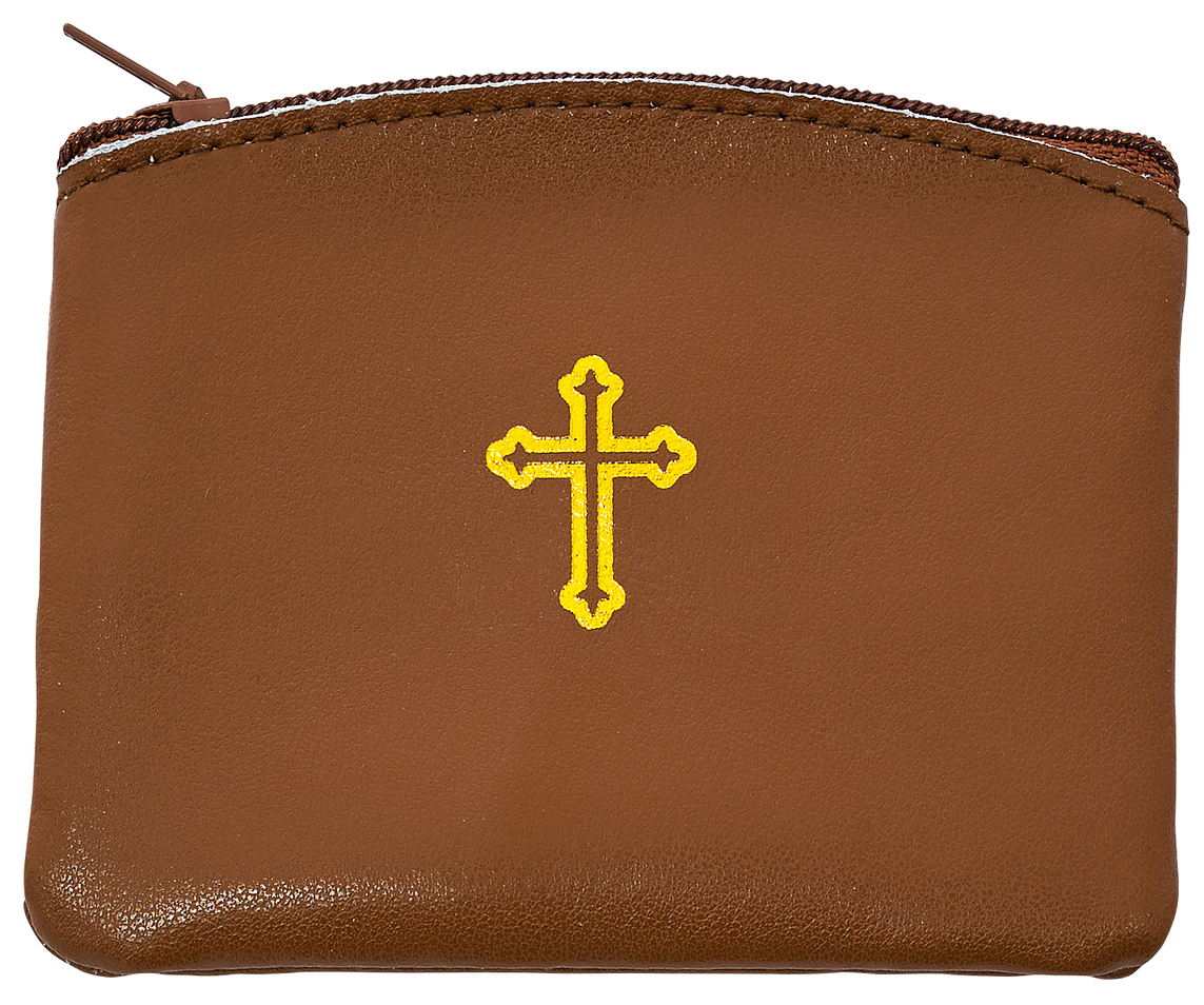 Brown Leather Rosary Case - Style RMP2