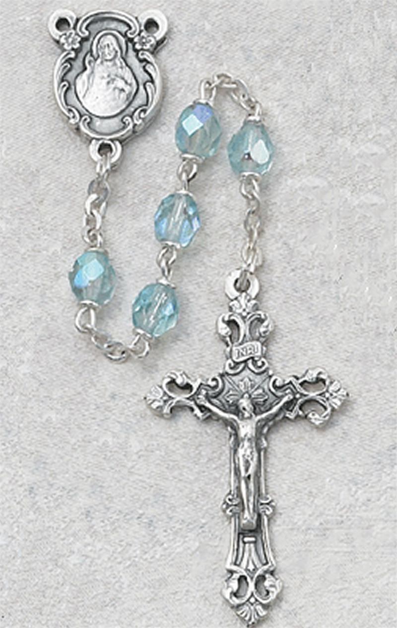 March Birthstone Rosary - Style 8M75AQG