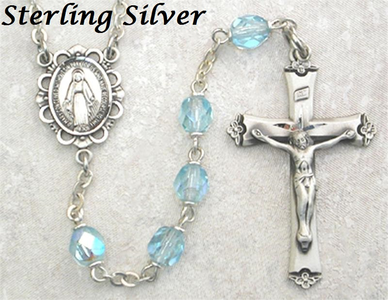 March Birthstone Rosary - Style 8M75LAQF