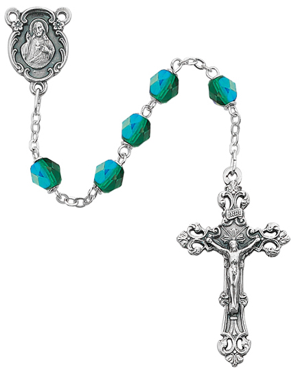May Birthstone Rosary - Style 8M75EMG