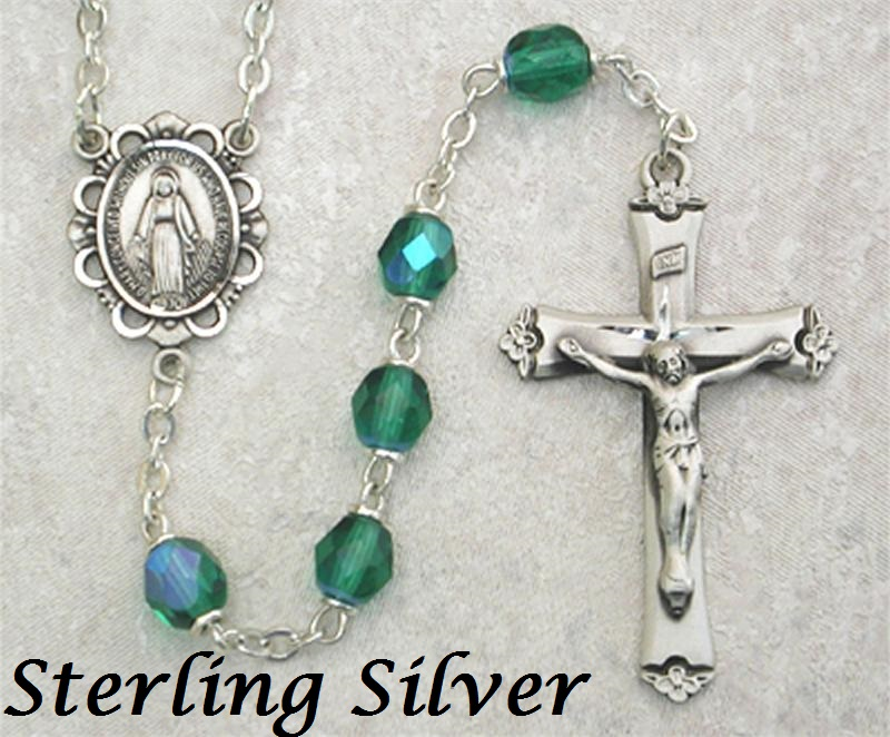 May Birthstone Rosary - Style 8M75LEMF