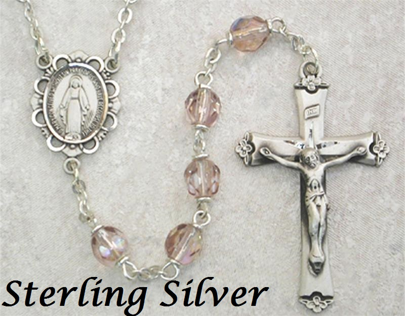 June Birthstone Rosary - Style 875LAMF