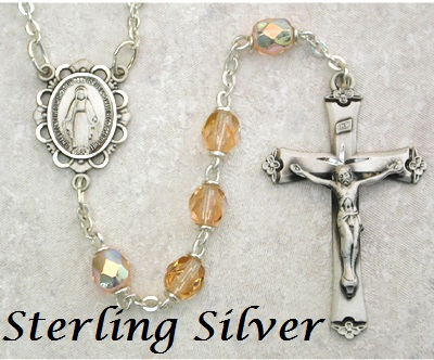 October Birthstone Rosary - Style 8M75LRSF